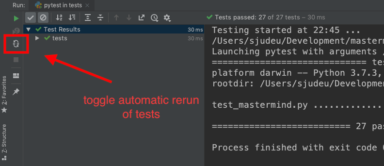 automatic rerun on tests